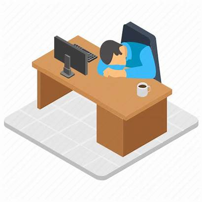 Office Tired Nap Worker Exhausted Icon Employee