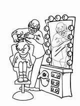 Kapper Knipt Kleurplaat Barber Leukekleurplaten Coloring Kleurplaten Hairdresser Cutting Kleur sketch template