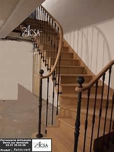 Main Courante Escalier Intérieur : escalier bois avec rampe barreaux en fer forg et main courante en bois escaliers ~ Preciouscoupons.com Idées de Décoration