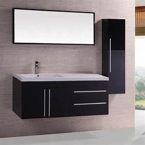 meuble salle de bain noir laque With salle de bain design avec meuble salle de bain noir