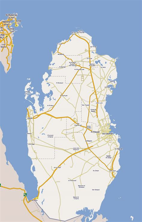large road map  qatar  cities qatar asia
