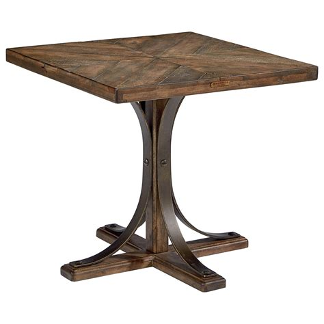 pedestal end table wood top end table with metal pedestal base by magnolia