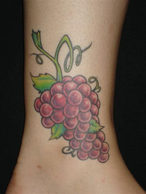 cool grapes tattoo design  ankle