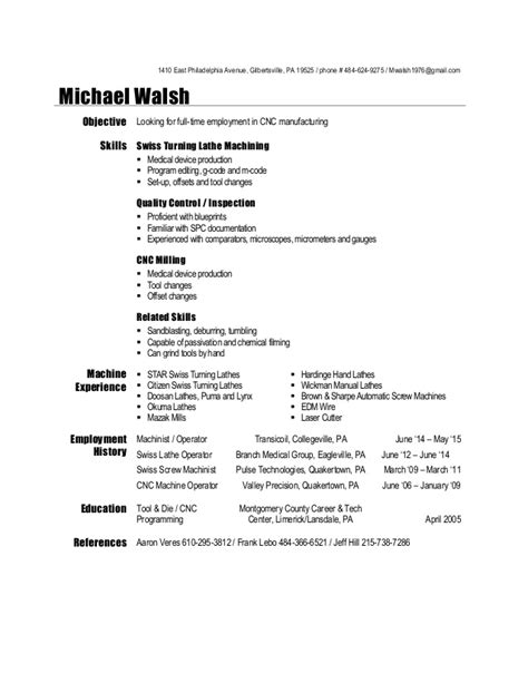Manual Machinist Resume Exles by Machinist Resume 2015
