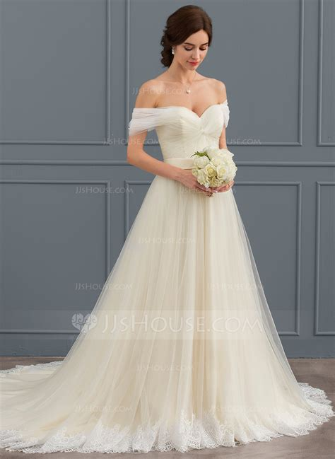 Ball Gown Off The Shoulder Court Train Tulle Lace Wedding