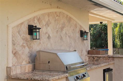 Outdoor Kitchen Backsplash by Custom Outdoor Kitchen With Granite Counter And Marble