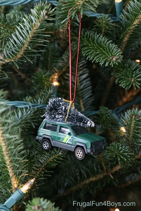 bringing home the christmas tree car ornament for kids to
