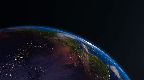 4k Earth View From Space With Night City Lights Asia