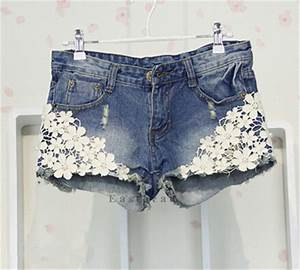 Top Retro Womens Lace Flower Skinny Jean Shorts Cut-Off Denim Short Pant Trouser | eBay
