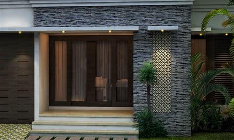 lihat dinding tiang teras rumah minimalis batu alam