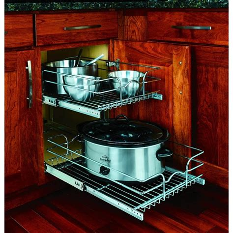 pull out cabinet shelves lowes rev a shelf 2 tier metal pull out cabinet basket at lowes