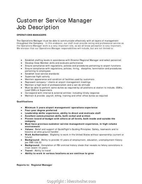 Customer Service Resume Description by Simple Customer Service Manager Summary Customer