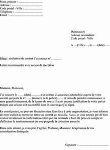Resiliation Assurance Voiture : mod le de lettre de r siliation assurance automobile suite la hausse des tarifs ~ Gottalentnigeria.com Avis de Voitures