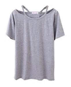 Grey T-Shirt Neckline Cut Out