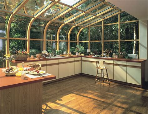 curved glass roof sunroom  solarium  wood interior