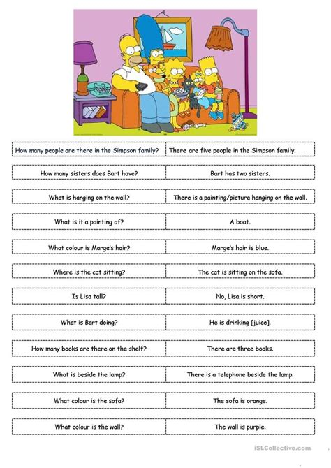 simpsons esl worksheets middle school simpsons best free
