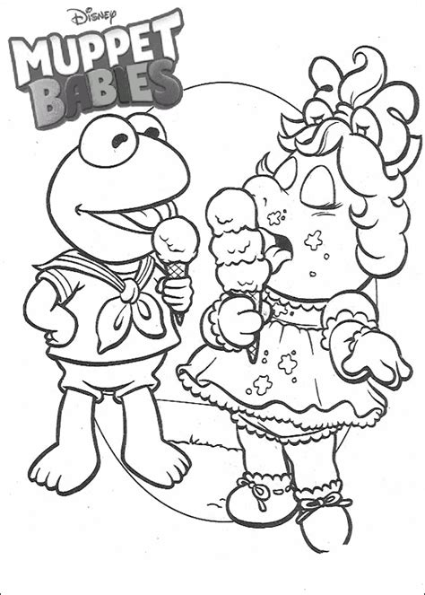 Miss Piggy and Kermit Muppet babies coloring pages