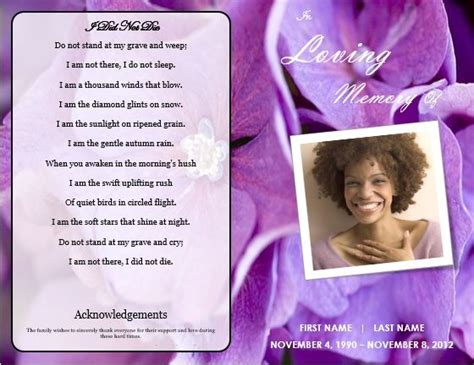 floral  printable funeral program templates memorial