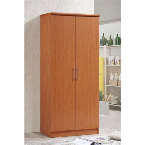 Home Wardrobe by Hodedah 2 Door Cherry Armoire With Shelves Hid8600 Cherry