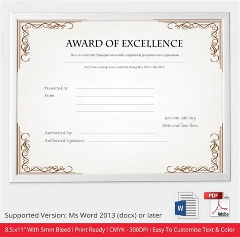 award certificate template word 52 free printable certificate template exles in pdf word free premium templates