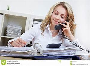 Woman Making Phone Call In Office Stock Image - Image ...