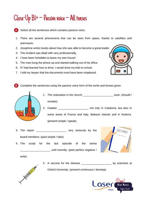 close   passive voice exercises  tenses worksheet