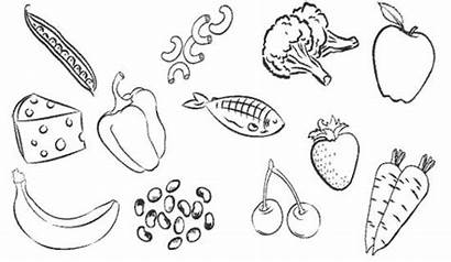 Coloring Healthy Pages Printable Drawing Snacks Simple