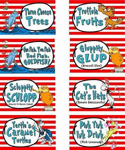 Dr  Suess Cat In The Hat Party Food Labels Printable By