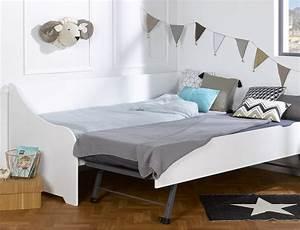 Lit Banquette Blanc : le lit gigogne un lit deux en un un lit enfant gigogne ~ Teatrodelosmanantiales.com Idées de Décoration