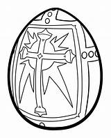 Easter Coloring Egg Pages Cross Religious sketch template