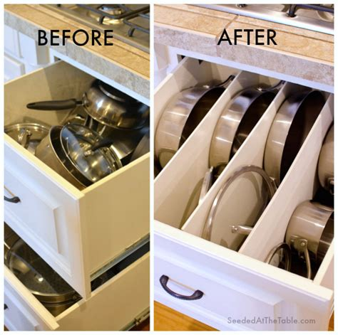 how to organize pots and pans in small kitchen cleaning diy organized pots and pans cookware drawer 9923
