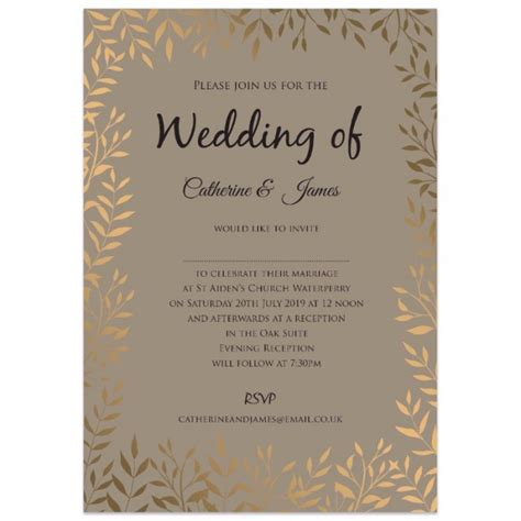 gold leaves wedding invitations paper themes wedding invites
