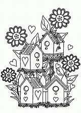 Coloring Pages Garden Flower Bird Birdhouse Gardens Houses Colouring Adult Printable Flowers Drawing Adults Tocolor Alexander Books Gardening Getdrawings Printables sketch template