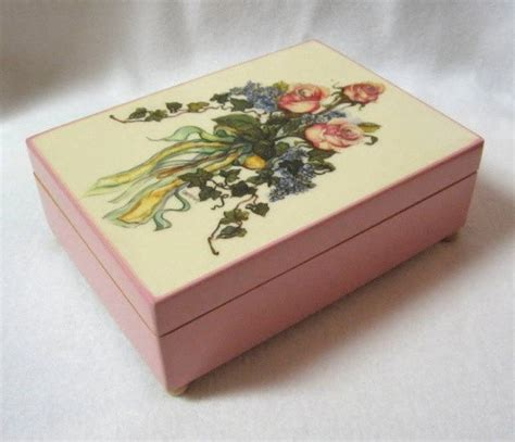 vintage musical jewelry box plays memory   japan