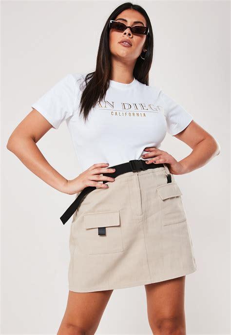 Plus Size Beige Utility Mini Skirt | Missguided