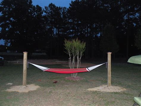 Hammock Posts In Ground 15 ft hammock made using 2 6x6 treated wood posts placed
