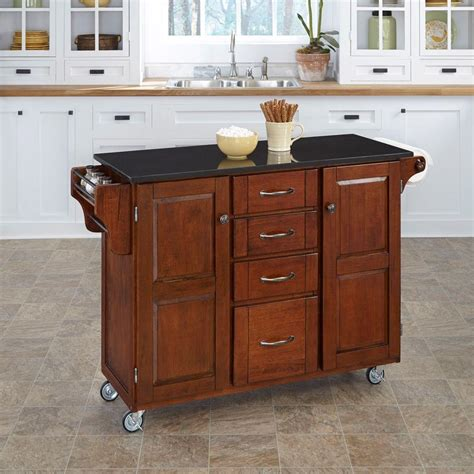 home styles create  cart cherry kitchen cart  black
