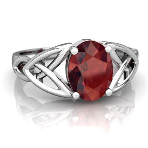 garnet celtic trinity knot ring r2389 wgrnt