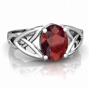 Garnet celtic trinity knot ring r2389 wgrnt for Garnet wedding ring meaning