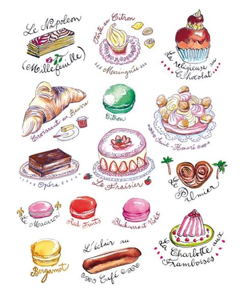 35 delicious food illustrations cakes names and sayings