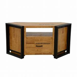 Meuble D Angle : meuble tv d 39 angle bois recycl naturel et m tal noirci 1 tiroir 1 niche 120x40x55cm docker ~ Teatrodelosmanantiales.com Idées de Décoration