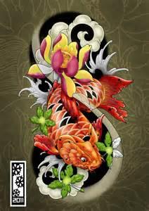 Koi Fish Tattoo Flash Art