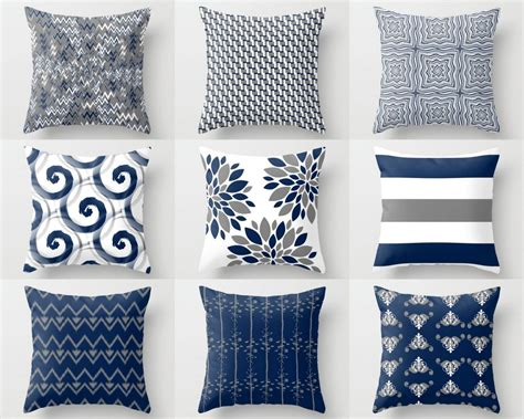 decorative accent pillows throw pillow cover pillow covers navy white grey accent