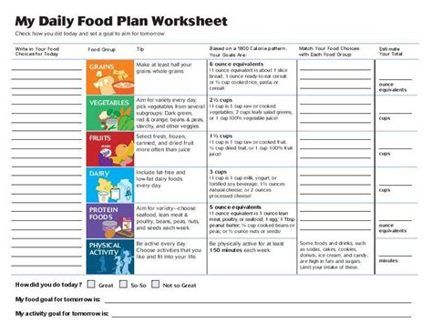 worksheet 1800 calories 18 plus years old myplate