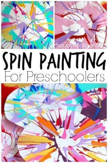 spin painting  preschoolers happy hooligans