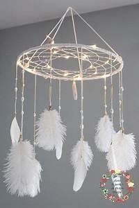 Attrape Reve Chambre Bebe : attrape reves capteur de r ves dreamcatcher lumineux style boheme tons balnc plumes et ~ Teatrodelosmanantiales.com Idées de Décoration