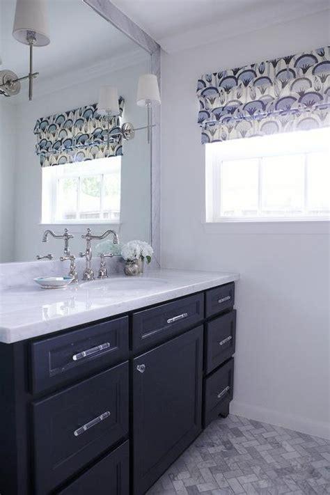 dark blue bathroom vanity transitional bathroom