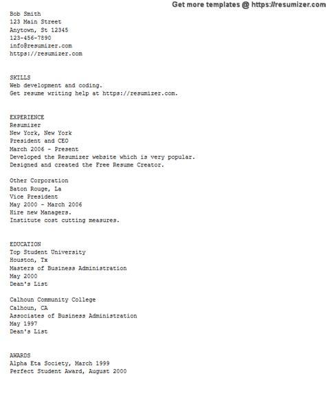 Resumizer Resume Creator Htm by Ascii Text Exle Resume Free Resume Creator
