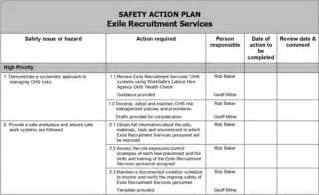 Safety Action Plan Template Example