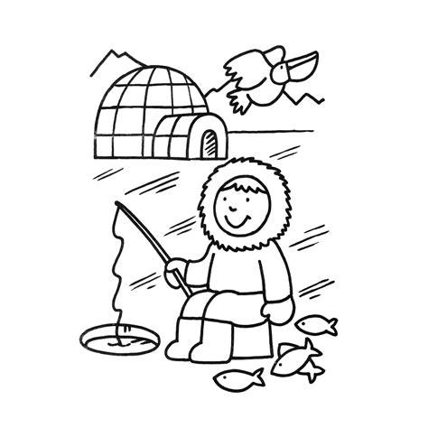 Iglo Huis Kleurplaat by Leuk Voor Een Eskimo Vist In Een Gat In Het Ijs